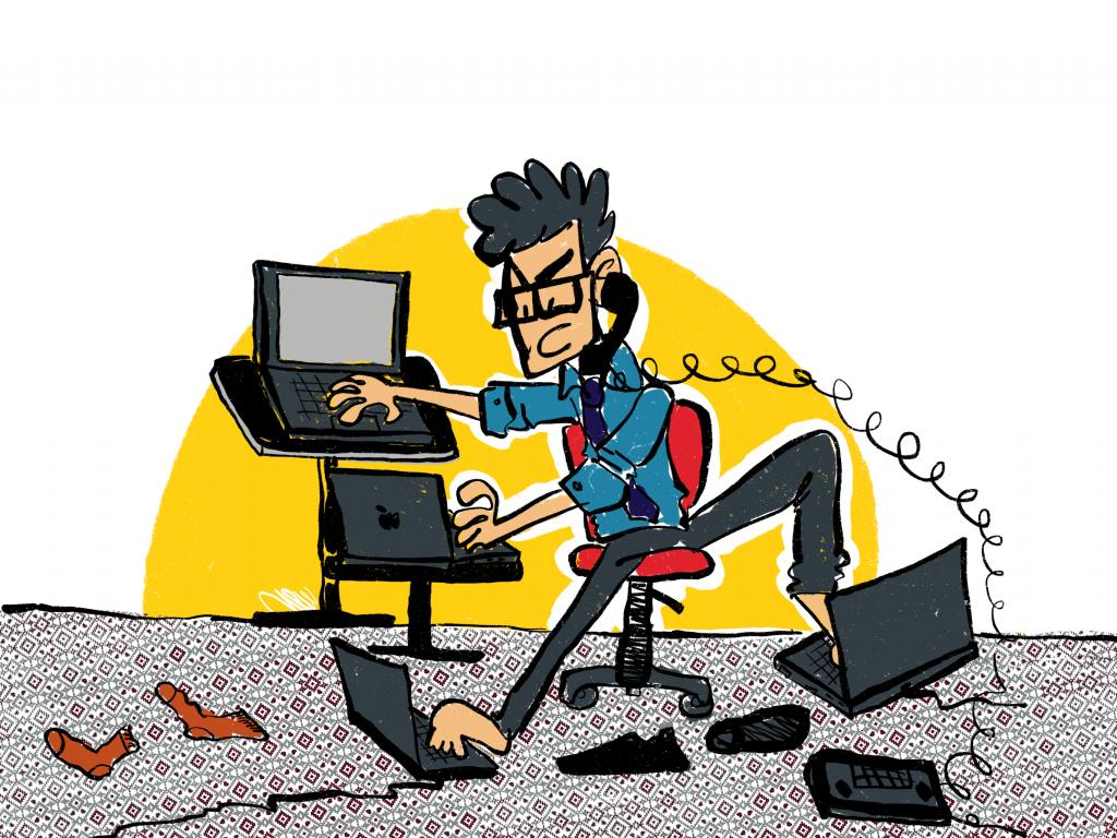 إدمان العمل -كاريكاتير